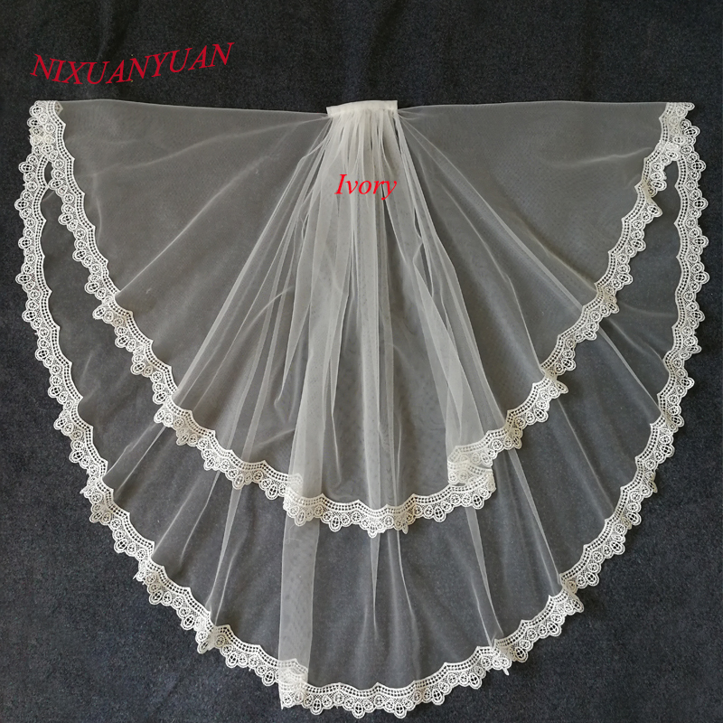 NIXUANYUAN Cheap Bridal Veil Lace Edge Two Layer Wedding Veil 2018 Ivory White Tulle Veu De Noiva Bridal Accessories With Comb