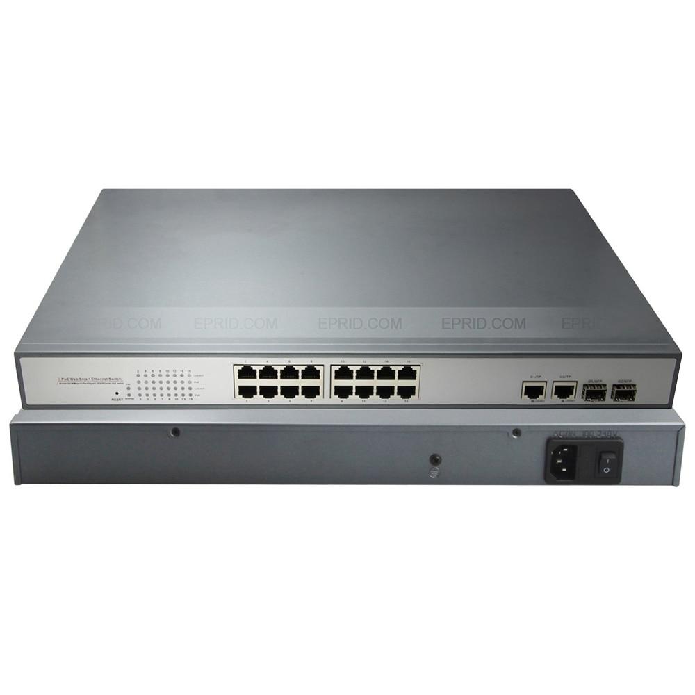 Intelligent Web Switch 16 PoE 2 Gigabit Combo Electrical+SFP Fiber Ports 802.3afIntelligent Web Switch 16 PoE 2 Gigabit Combo Electrical+SFP Fiber Ports 802.3af
