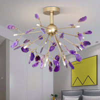 natural agate slices chandelier with orange red yellow blue green purple pink brown agate hanging light for kichen dining room