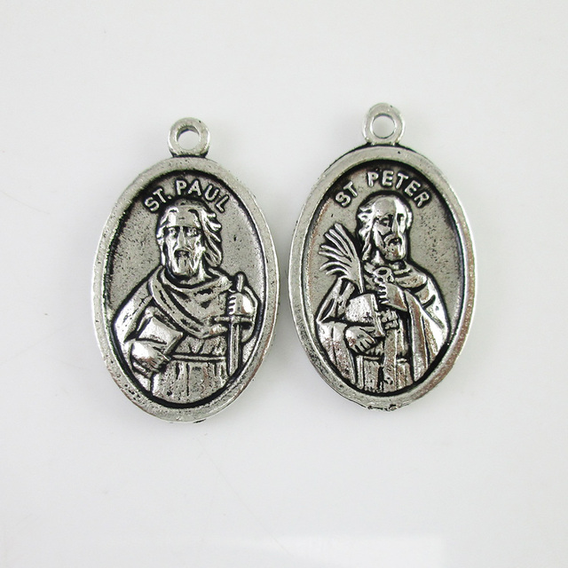 100pcs of antique silver catholic st paul and st peter medal 100pcs of antique silver catholic st paul and st peter medal pendant aloadofball Images