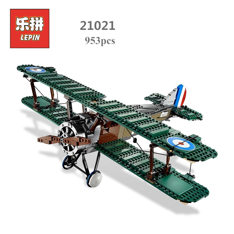 Lepin block Creator Sopwith Camel Fighter Model Set Plane Toy Compatible with 10026 Kids Gifts for Children Educational 21021 new phoenix 11207 b777 300er pk gii 1 400 skyteam aviation indonesia commercial jetliners plane model hobby