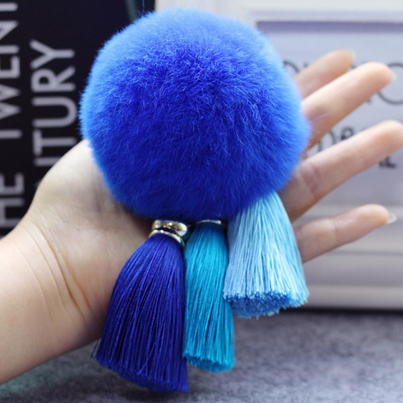 Cute Women Tassel Hairball Key Chain Pendant Tassel Rabbit Fur Fuzzy Ball Pompom Keychain Bag Big Charm Key Ring
