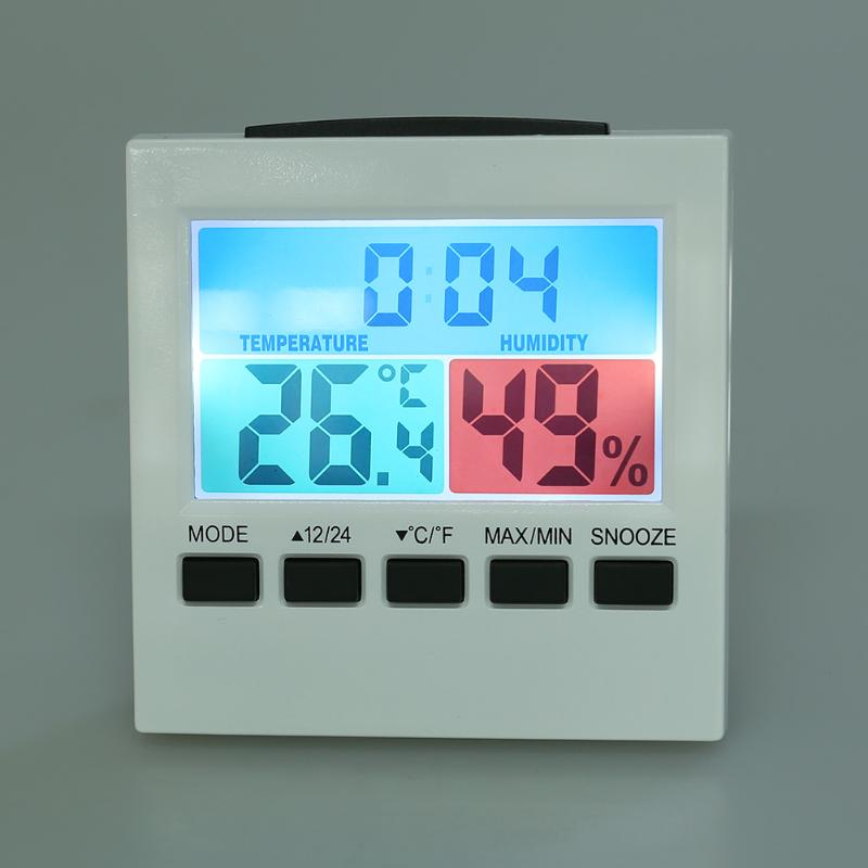 LCD Backlight Thermometer Hygrometer Indoor/Outdoor Temperature Humidity Tester Weather Station Alarm Clock Calendar Alarm
