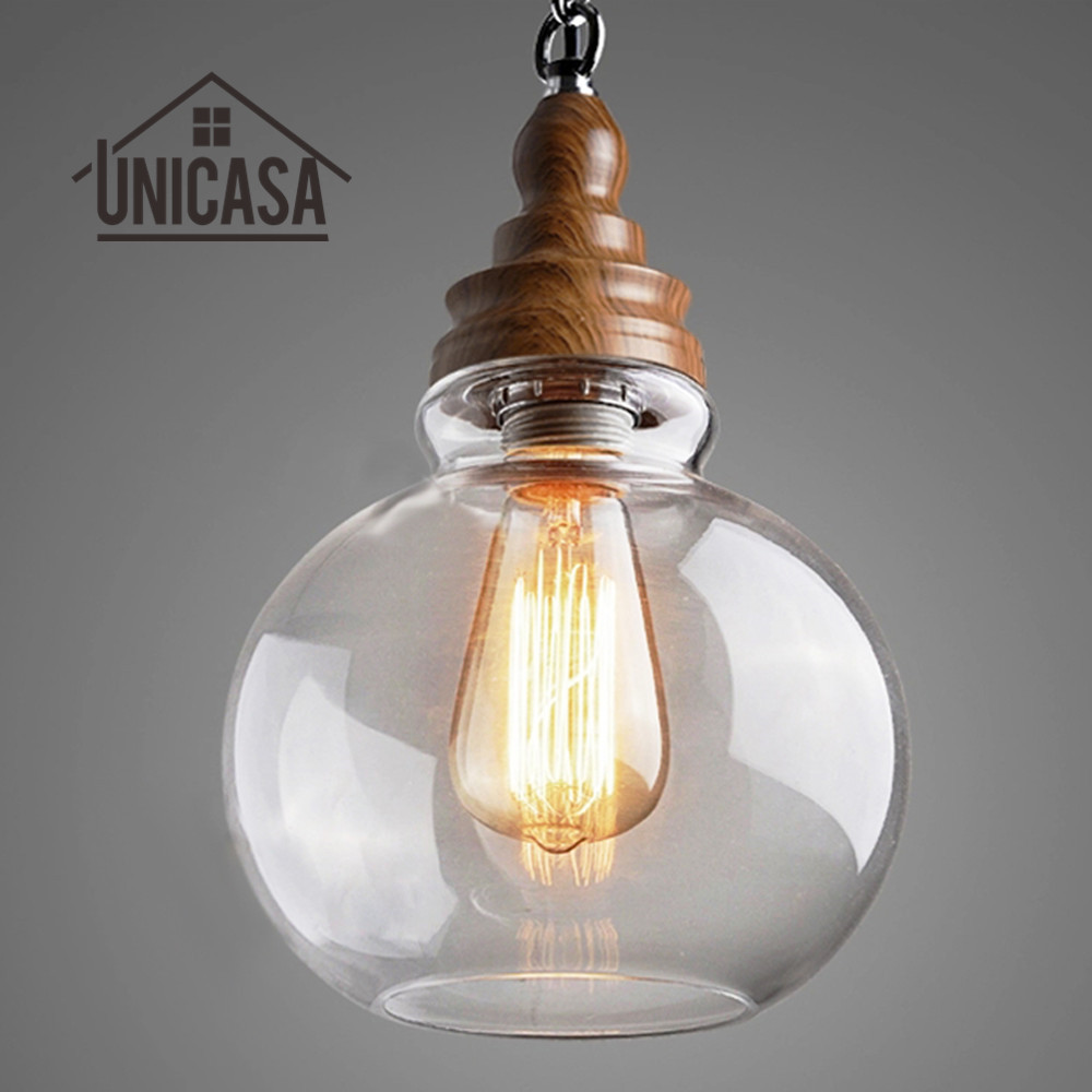 Modern Clear Glass Shade Pendant Lights Industrial Lighting Fixture Kitchen Island Office Bar Hotel Antique Pendant Ceiling Lamp square corners hanging antique copper 2 candelabra sockets clear glass
