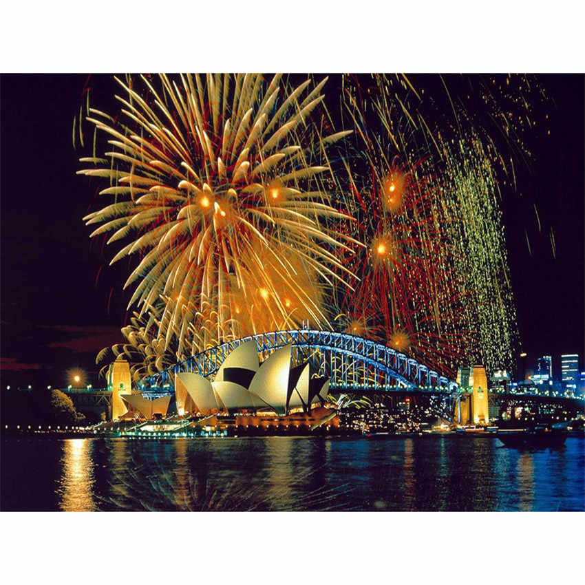 DIY Digital Painting By Numbers Package Fireworks at the Sydne oil painting mural Kits Coloring Wall Art Picture Gift frameless