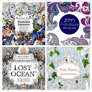 24 Pages English Time Travel Painting Book Adult Decompression Drawing Mandala Lost Ocean Painting This Office Stationery 4pcs 1