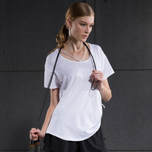 2017 New Demix Sports Blouses Women's Short Sleeved T-shirt Female Summer Loose Gym Running Fitness Yoga Shirt Long Section