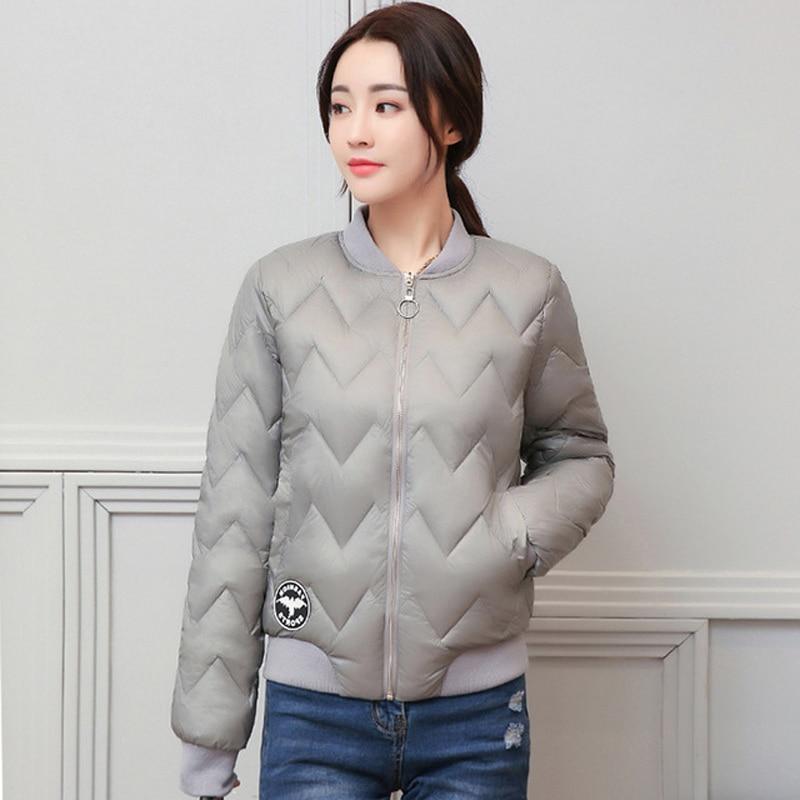 2018   Jacket   Women Round-neck Baseball   Basic     Jacket   Solid New Fashion Cotton Padded Female Autumn Jaqueta Feminina Coat LJ0796
