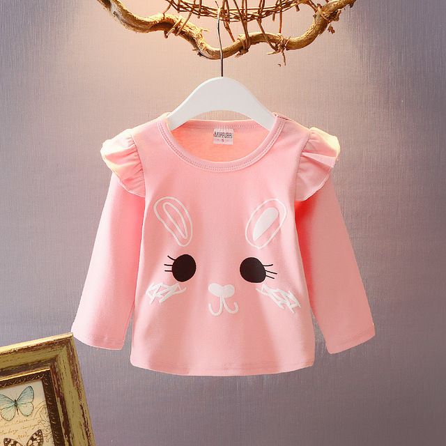 cd334c004 2017 autumn new children's top clothing girls baby girls shirts 1-4 years  old rabbit flowers long sleeve cute T-shirts