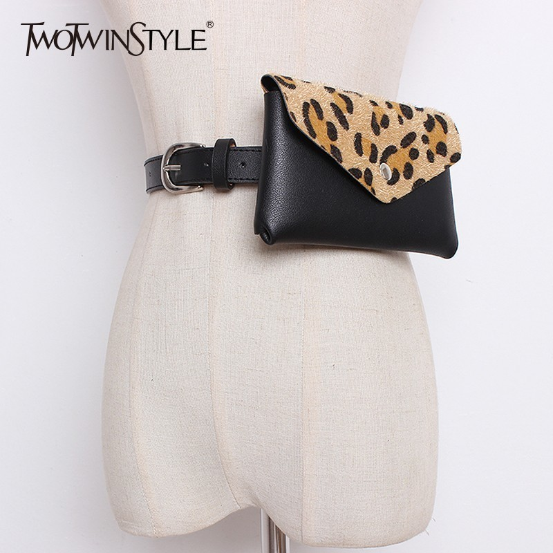 TWOTWINSTYLE Belts For Women PU Leather Wide Waistband With Small Patchwork Leopard Bags Female Belt Fashion Tide Autumn 2020