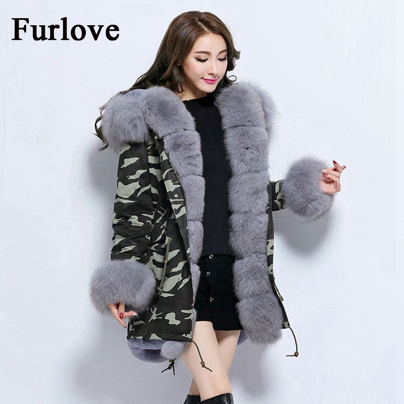Thick Parkas Warm Jackets Winter Jacket Women 2017 Natural Fox Fur Collar Hooded Coat Real Rabbit Fur Lining Vintage Long Parka 2017 winter new clothes to overcome the coat of women in the long reed rabbit hair fur fur coat fox raccoon fur collar