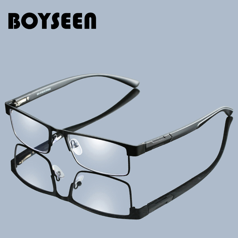BOYSEEN Men Titanium Alloy Reading Glasses Non Spherical 12 Layer Coated Lenses Retro Business Hyperopia Prescription Eyeglasses