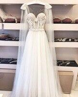 Шикарные платья Новый 2019 для Свадебная вечеринка Sheer аппликации бусины Тюль линия открытой спиной богемное платье Свадебные платья