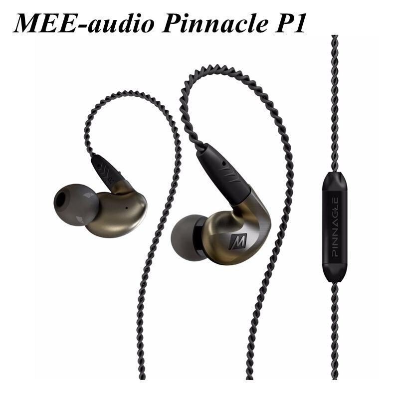 Original MEE-audio Pinnacle P1 Wired In Ear Earphones Audiophile Earphones With Detachable Cables Acoustic Headset With Mic&box original mee audio pinnacle p1 audiophile bass hifi dj studio monitor music in ear earphones w detachable cable vs pinnacle p2