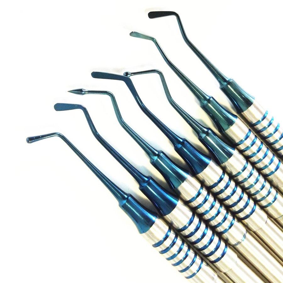 7pcs Dental Composite Resin Filling Spatula Titanium plated Head Resin Filler Set thick handle Restoration set Dental Instrument