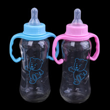 250ml Baby Stro Handvat Zuigflessen Kids Cups Siliconen Sippy Training Drinkwater Cups Baby Zuigfles(China)