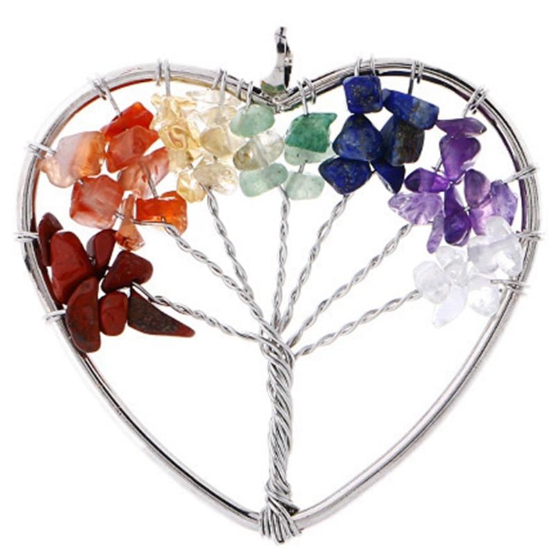 7 Chakra Jewelry - Tree of Life Pendant Amethyst Rose Crystal Necklace Gemstone 3