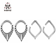 KUBOOZ Piercing Ring Body Fashion Jewelry Tunnel Plug Expander Stretchers Stainless Steel Ear Gauges Earrings Gift Two Pairs