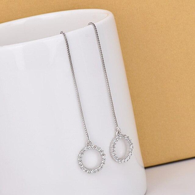 Купить модные простые элегантные длинные серьги серебряного цвета с
