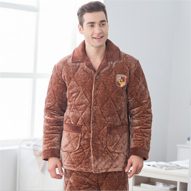 Gran chaqueta de algodón acolchado Hombres de ocio En Casa pijama traje de invierno Engrosamiento ropa de dormir de algodón de manga larga pantalones