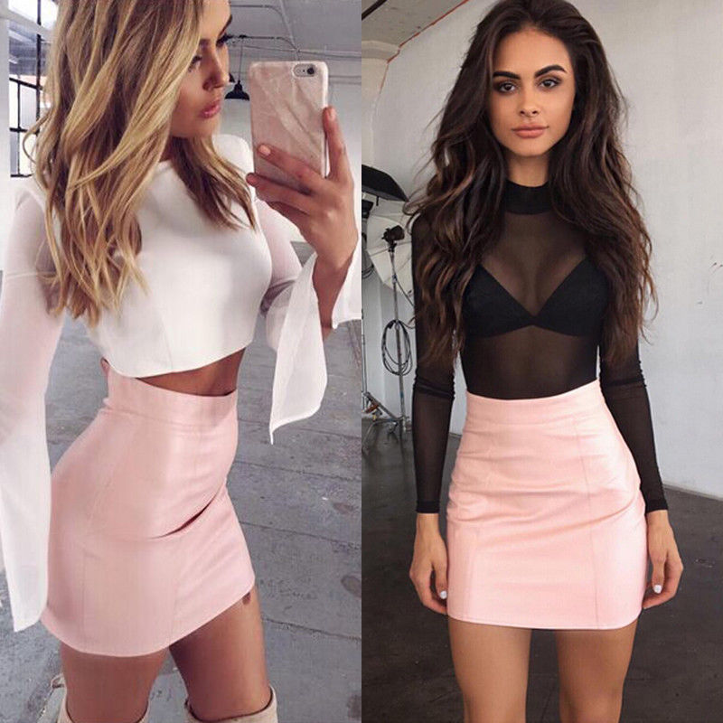 HOT Fashion Women Shiny Leather Skirts Female Solid Bodycon Pencil Short Mini Skirt Woman Zipper High Waist Skirt Tight Clubwear