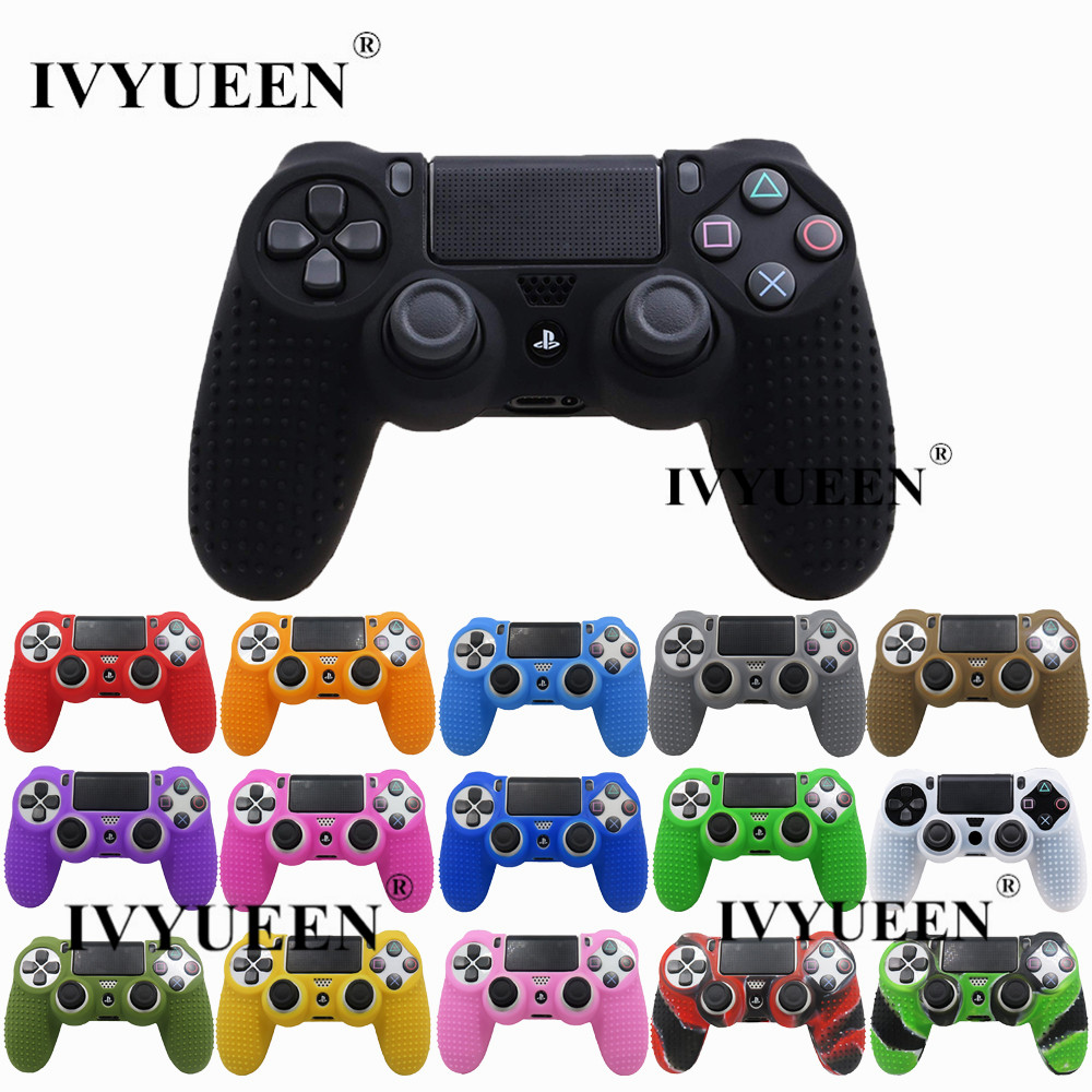 IVYUEEN 17 Colors Silicone Anti-slip Case Cover Skin for Sony PlayStation Dualshock 4 PS4 DS4 Pro Controller Slim & Stick Grip