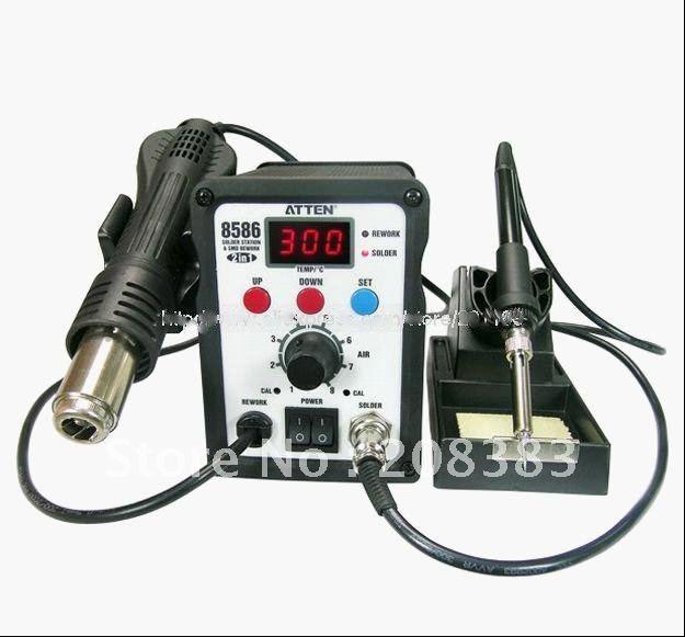 117# AT8586 2in1 SMD rewoke паяльная станция, пистолет с горячим воздухом, дополненная& сварочная станция