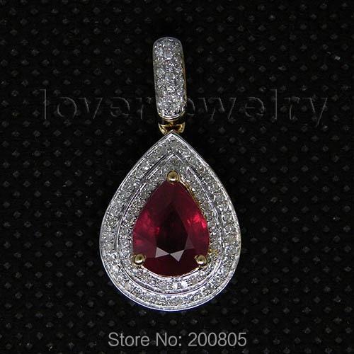 New Elegant Pear 7x9mm Rubi Pendant Solid 14Kt Yellow Gold,Real Diamond Red Ruby Pendant For Sale CA001 rubi rubi ru008awgxq29
