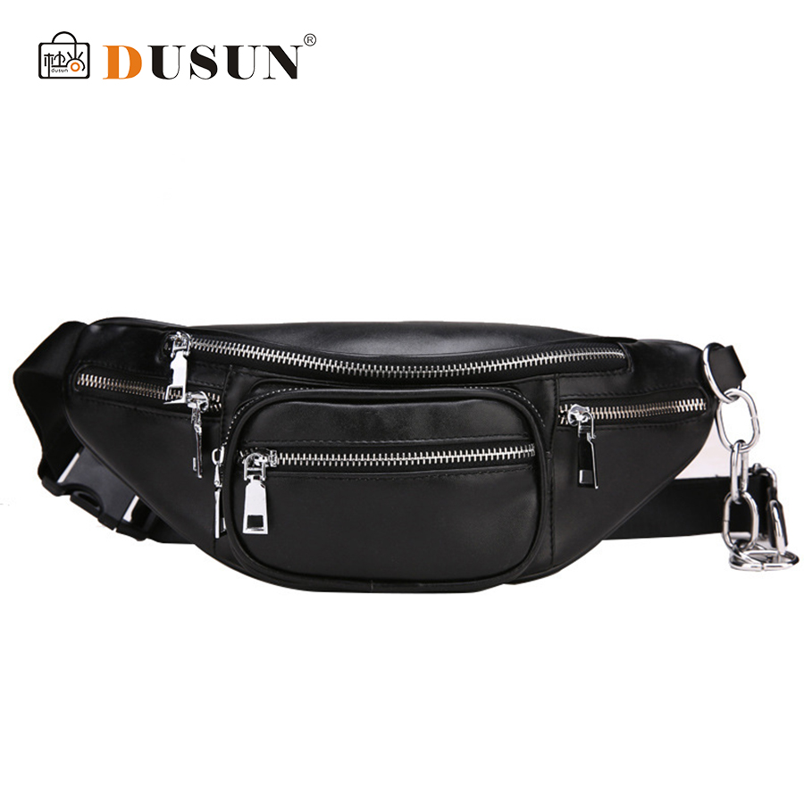 DUSUN Unisex Waist Pack Casual Fanny Pack Women Belt Bum Bag Waist Bag Female Phone Wallet Pouch Bag Black Multifunctional Purse aireebay fanny pack for women men waist bag colorful unisex waist pack new fashion female belt bag male zipper bum bag hip pouch