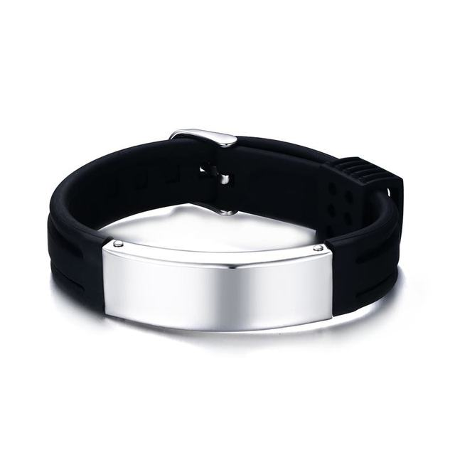 Free Engraving Mens Stainless Steel Id Tag Silicone Rubber Bracelet Wristband Watch Buckle Band Strap Bangle