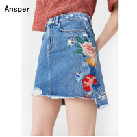 Denim Skirts Womens 2017 Vintage Flower Embroidered Jeans Skirt Female High Waist Mini Skirt Summer A