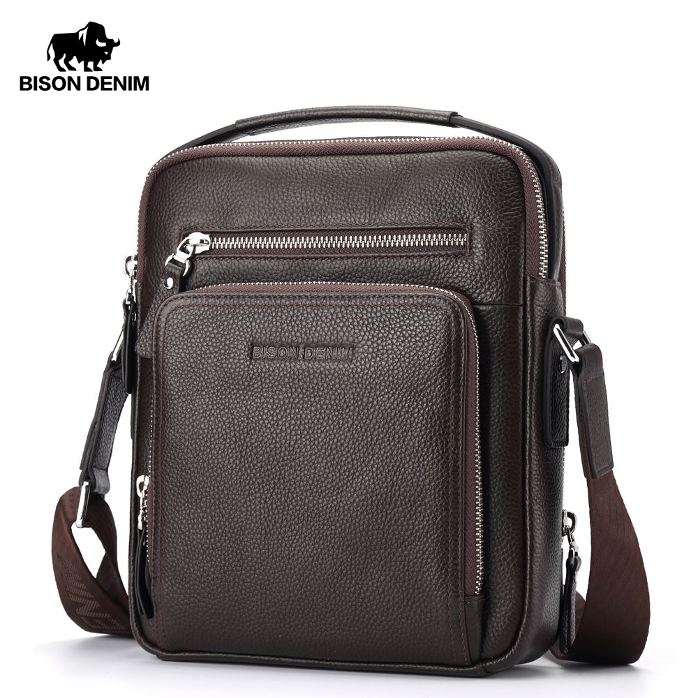 BISON DENIM Genuine Leather Men's Bag Business  Shoulder Crossbody Bag Christmas Gift Designer Handbags High Quality N2333-1