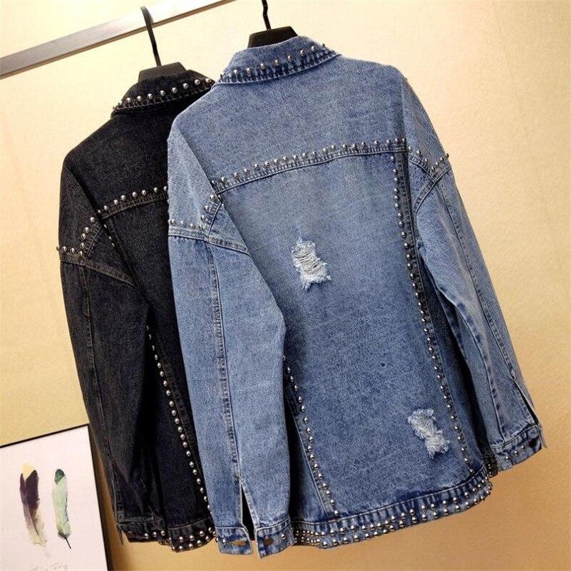 Feminino Femme blue Jeans Lâche Veste Matelassée Lavé Trou Printemps Black Casaco 2019 Denim Rivet Lourd P784 Manteau Bf P8xR64q