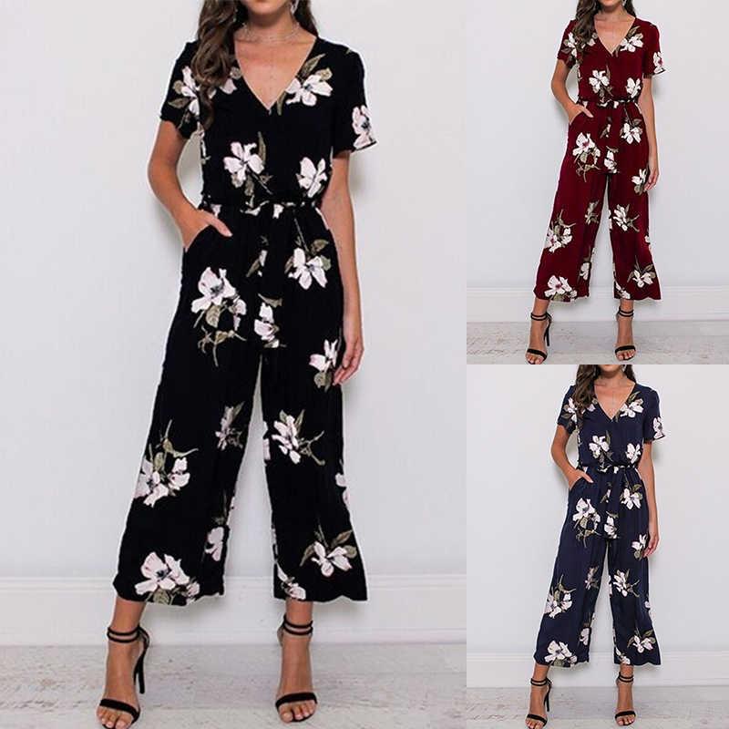 2019 nueva llegada mujer moda verano manga corta cuello en V estampado Floral elegante mono pantalones largos talla grande