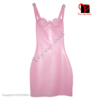 Metallic Pink Halter Sexy Latex Dress with Zipper and Bra Rubber Dress Pencil mini Top Playsuit bodycon size XXXL QZ 090