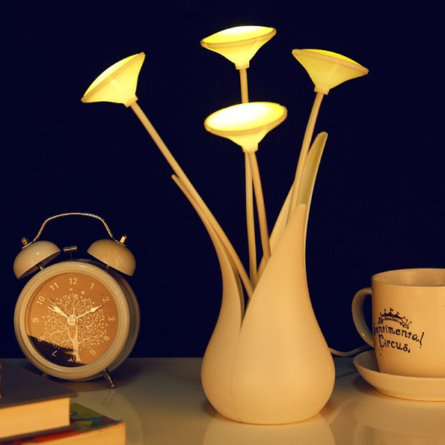 Us 15 01 5 Off Elegant Usb Led Anion Flower Vase Intelligent Light Control Lamps Three Colors Free Shipping In Night Lights From