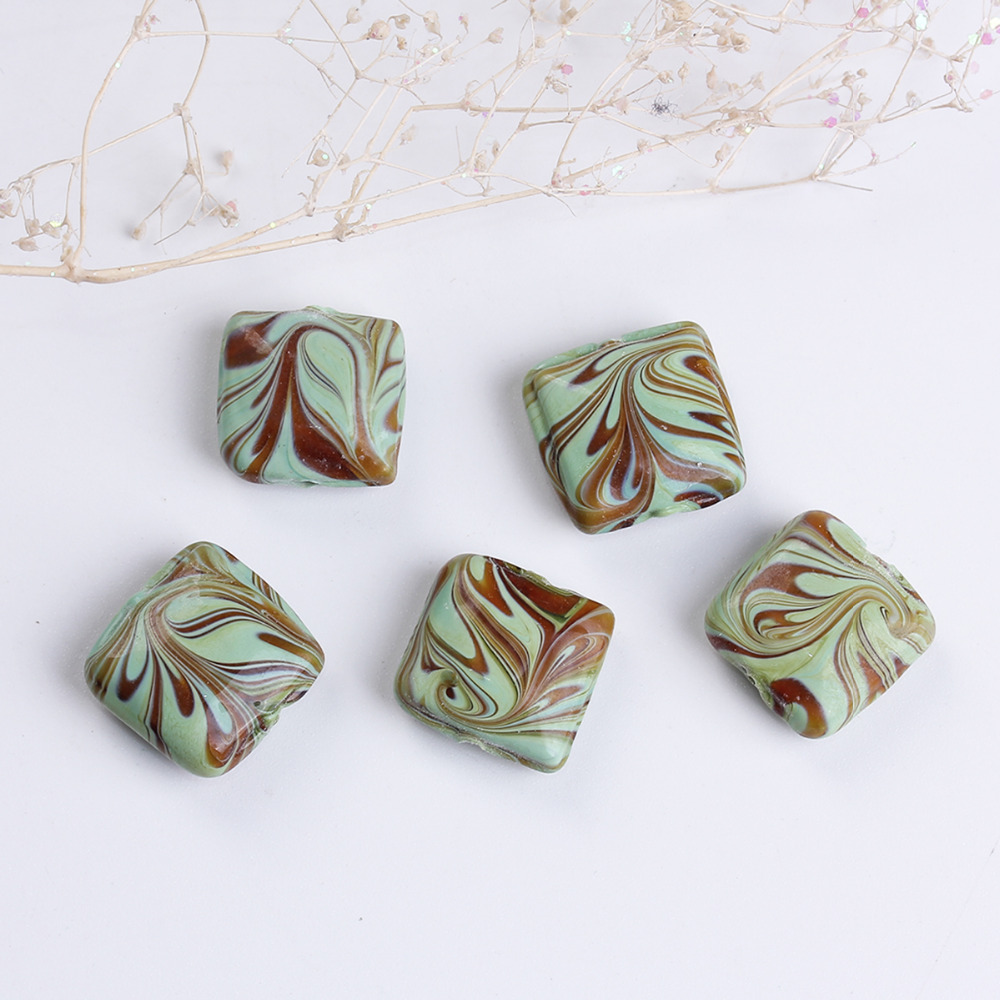 DoreenBeads Lampwork Glass Green Beads Square Stripe Pattern DIY Components About 16mm x 16mm( 5/8), Hole: Approx 2mm, 5 PCs