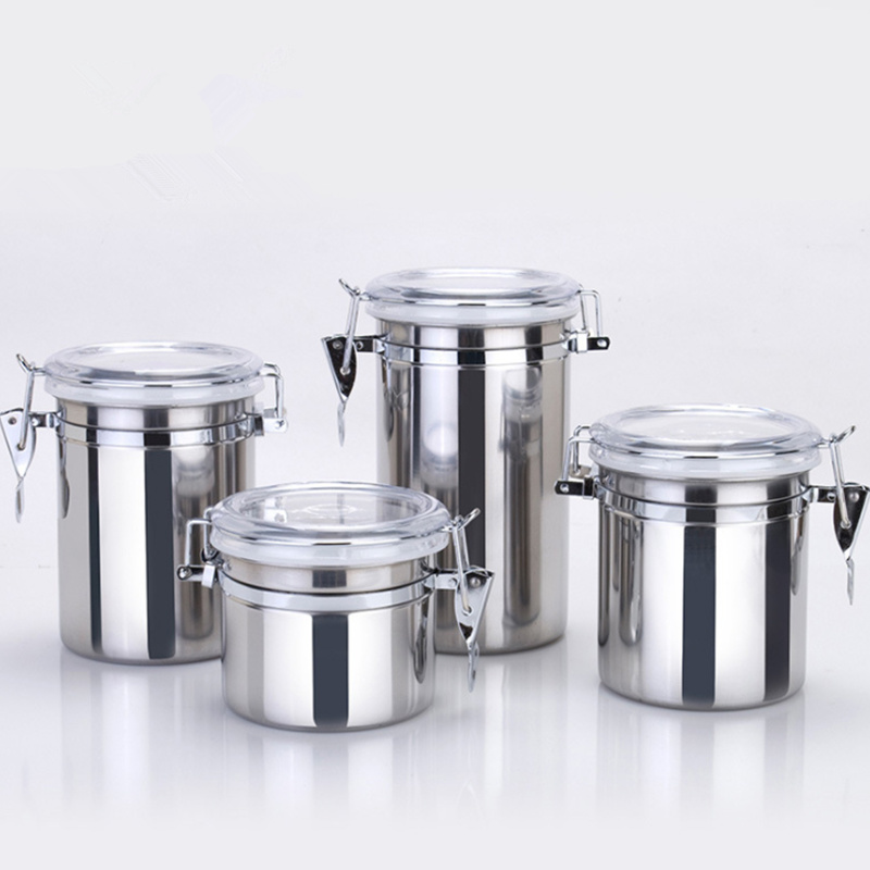 Goldbaking 4 Pieces Kitchen Canisters Stainless Steel Beautiful Food  Container Set For Kitchen Counter With Airtight Lids  In Lunch Boxes From  Home U0026 Garden ...