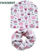 Cotton Baby Hat Set Ice Cream Love Print Cotton Cap Baby Hats Newborn Hat Children font