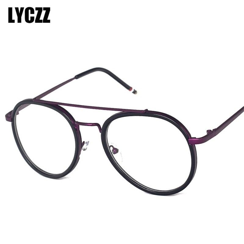 83f7148509 LYCZZ Men Women Aviation Style Plain Glasses Vintage Spectacle Frames NEW  Alloy Optical Eyewears Unisex Prescription Eyeglasses
