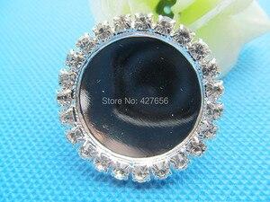 Image 1 - Nuevo 100 unids/lote de diamantes de imitación blancos de cobre colgante de encanto, Base de ajuste de bandeja de bisel, ajuste 25mm cabujón imagen camafeo