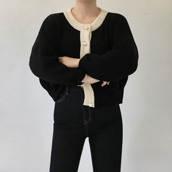 Knitted Pearl Buttons Long Sleeve Short Sweater
