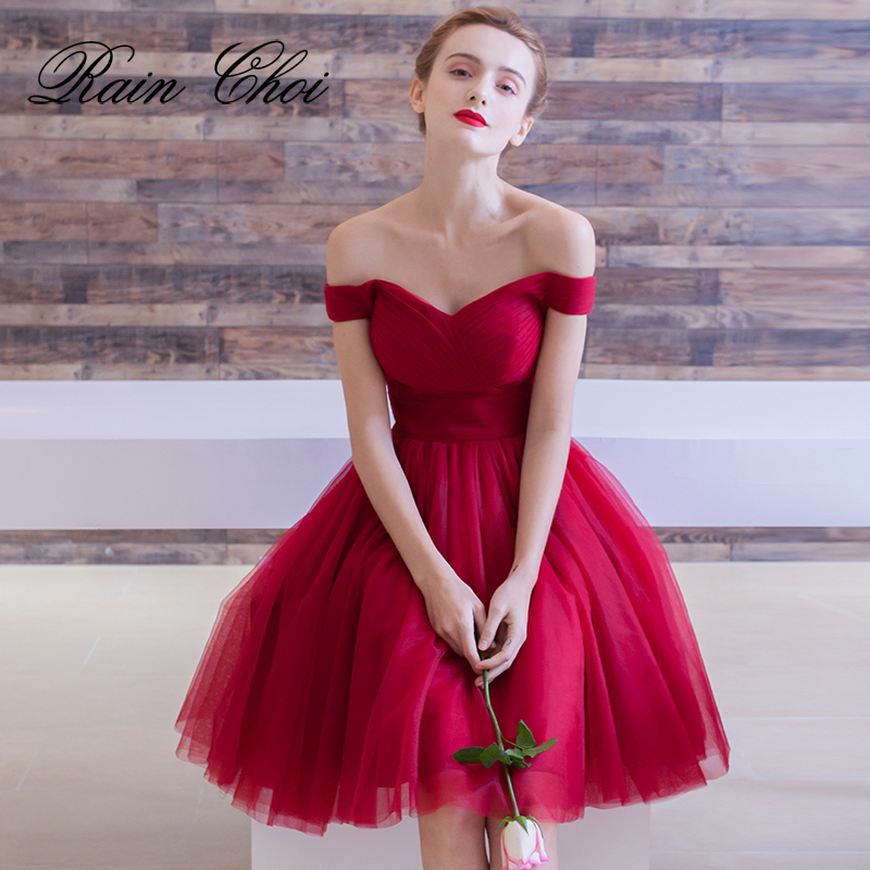 Cocktail Dresses 2019 Pleated Women Formal Prom Party Gown Short Cocktail Dress(China)