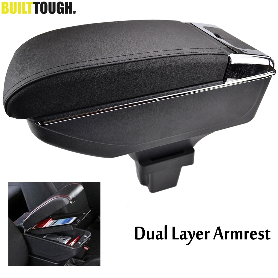 Dual Layer Armrest For Chevrolet Trax Tracker Holden Trax 2013 2017 Center Console Storage Box Leather