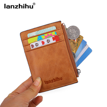 цены 2016 Business Genuine Leather Slim Wallet for Men Small Thin Card Holder Luxury Brand Designer Short Wallets Mini Zip Coin Purse