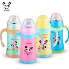 Новый Ребенок Мило Кормление Из Бутылочки 300 МЛ Соломы Ребенка Из Нержавеющей Стали Питьевой Бутылки С Ручками Мода Baby Cup(China (Mainland))