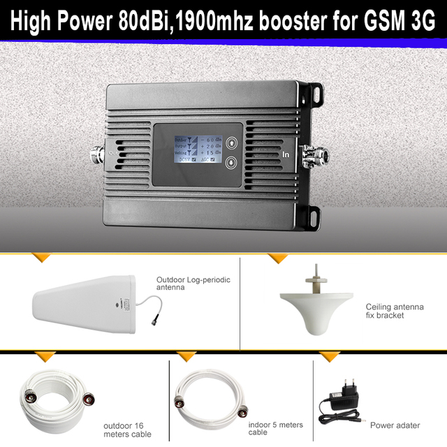 Mini 2G 3G signal booster High Power 80dBi 1900mhz GSM 3G mobile signal booster repeater for  2g3g cellular signal amplifier kit