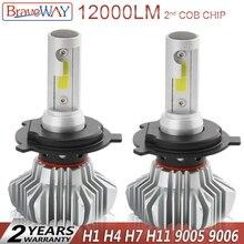 BraveWay светодио дный свет лампы для автомобилей H4 светодио дный H7 фар ходовые огни H7 H11 H1 светодио дный лампы HB3 BH4 9005 9006 12000LM 12 В Canbus