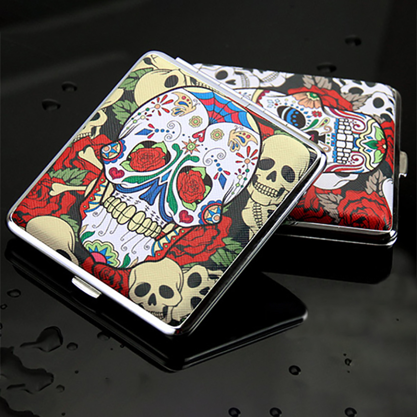 20 sticks cigarettes storage box creative skull pattern metal leather container holder portable cigarettes case gifts 6 types