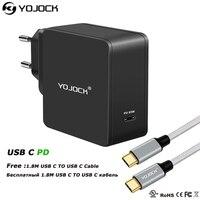 YOJOCK için 60 W USB C Şarj Adaptörü Güç ile Teslimat MacBook PRO/iPhone X/8 Artı Xiaomi Hızlı Moible Telefon Tipi-C PD şarj